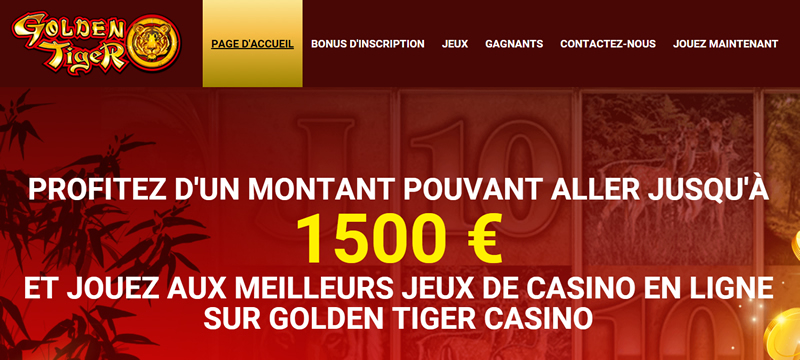 Golden Tiger Casino : 1500 Crédits Gratuits