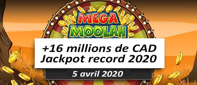 Gagnant 2020 au Mega Moolah
